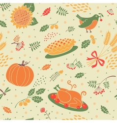 Seamless pattern with pumpkins leaves wheat and vector image vector image