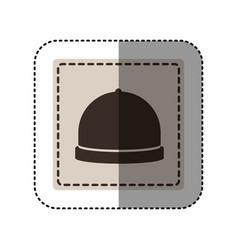 sticker monochrome square with cloche icon food vector image