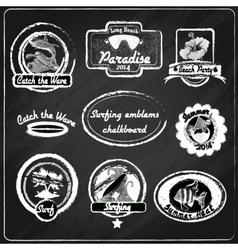 Surfing emblems chalkboard vector image vector image