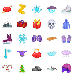 Winter things icons set cartoon style vector