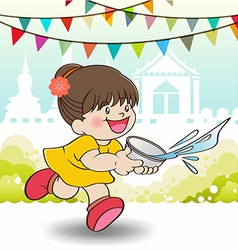 Young Asian girl playing Songkran Festival vector image vector image