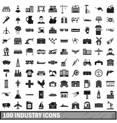 100 industry icons set simple style vector image
