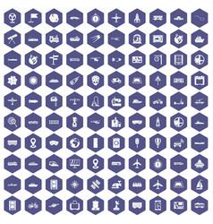100 technology icons hexagon purple vector