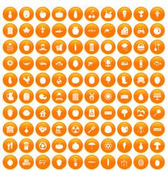 100 vitamins icons set orange vector