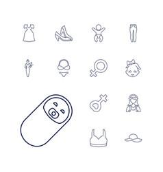 13 girl icons vector