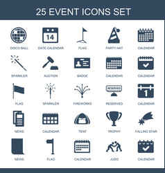 25 event icons vector image