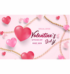 3d metallic white and pink hearts with golden vector image