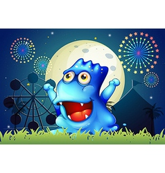 A blue monster strolling at the carnival in the vector