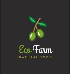 agriculture logo Eco farm emblem Olive vector image