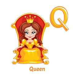 Alphabet letter q queen vector
