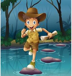 An adventurer running with a map vector