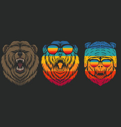 angry bear retro vector image