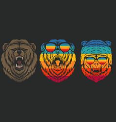 Angry bear retro vector