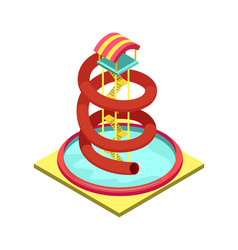 Aqua park water tube isometric 3d element vector