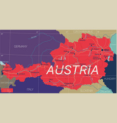 austria country detailed editable map vector image