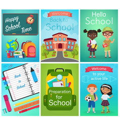 back to school card design set pupils kids vector image
