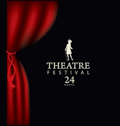 Banner for theatre festival with a red curtain vector