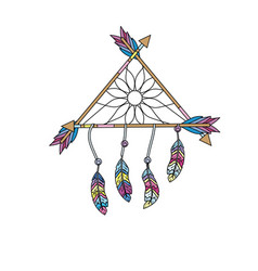 beauty dream catcher with feathers and arrows vector image