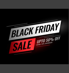 Black friday sale banner with discount details vector