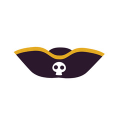 Black scary pirate hat icon vector