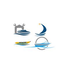 Boat repair workshop set vector