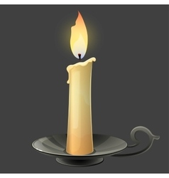 Burning candle in black metal candle holder vector image