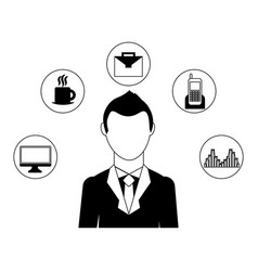 businessman elegant with set icons avatar vector image