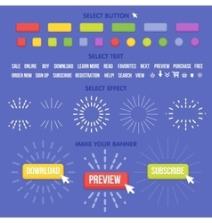Buttons maker constructor Create your banner for vector image