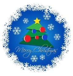 card - Christmas tree with colored baubles vector image