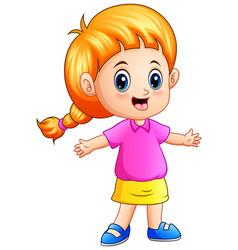 Cartoon little girl with blond hair vector