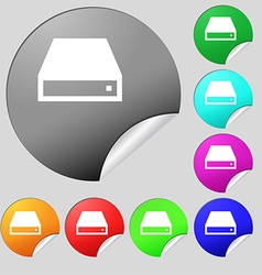 CD-ROM icon sign Set of eight multi-colored round vector image
