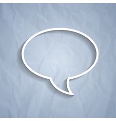 Chat bubble symbol on light grey paper background vector