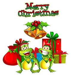 Christmas card template with frogs and presents vector image