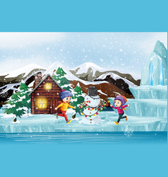 Christmas scene with two kids and snowman vector
