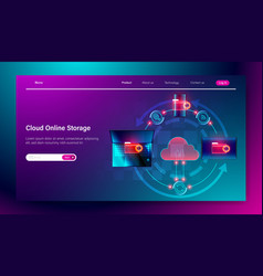 cloud online storage service concept connection vector image