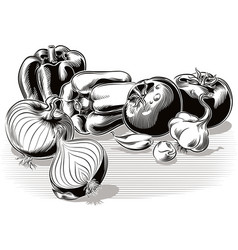 Composition with onion garlic tomatoes and peppers vector