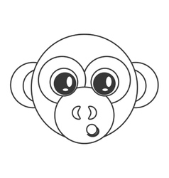 Cute monkey cartoon icon vector
