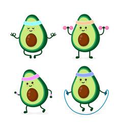 Cute smiling happy strong avocado vector