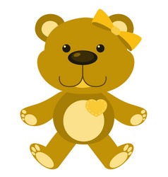 Cute teddy bear in yellow color on white vector