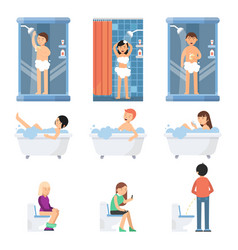 Different funny people take a shower in bathroom vector