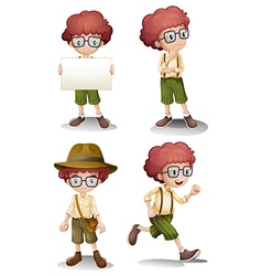 Different moods of a young boy vector