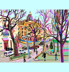 Digital plein air painting kiev street vector