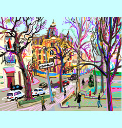 Digital plein air painting of kiev street vector