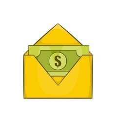 Dollar bills in yellow paper envelope icon vector image
