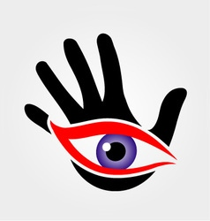 Eye emerging from a palm vector image