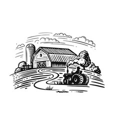 farm theme with trees and tractor vector image