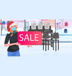 female seller in mask holding sale banner new year vector image