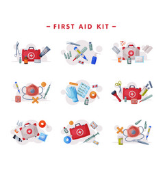 first aid kit medical emergency box equipment and vector image