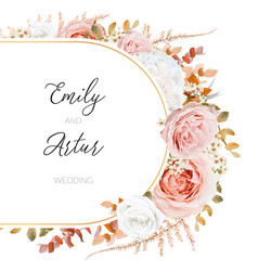 floral autumn winter wedding invite card design vector image