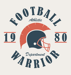 football warrior - t-shirt graphics with helmet vector image